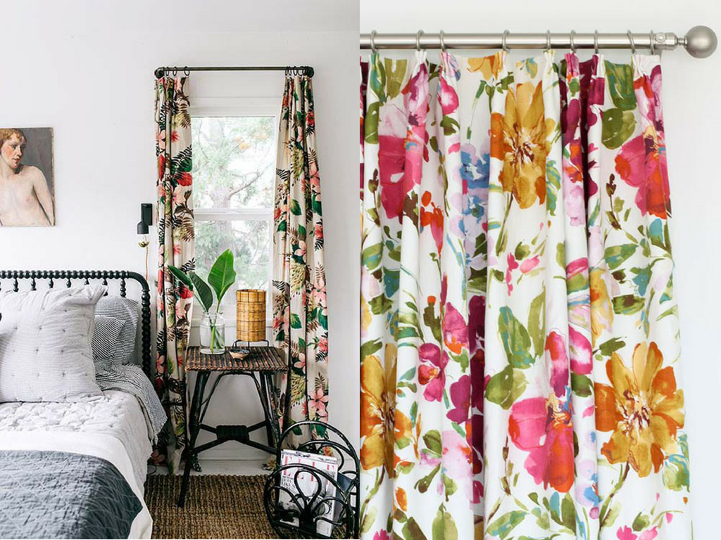 Floral Prints & Watercolor Curtain